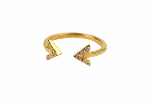 Strict Sparkle Double Arrow Ring, Gold i gruppen Dam / Smycken hos Elin Maria AB (32WSSRG1127)