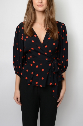 BARRA CREPE WRAP BLOUSE, BLACK