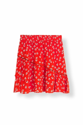 MINI SKIRT SILVERY CREPE, BIG APPLE RED