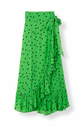WRAP SKIRT DAINTY GEORGETTE, CLASSIC GREEN