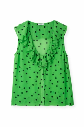 TOP DAINTY GEORGETTE, CLASSIC GREEN