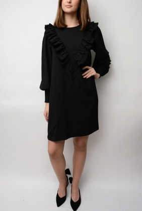 Clark Ruffle Dress, Black