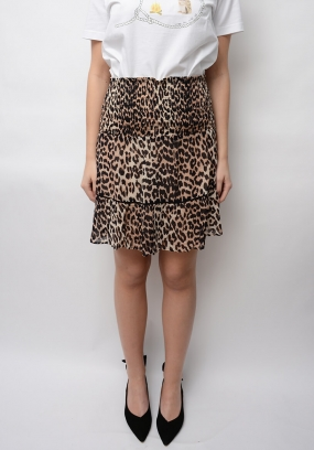 Mullin Georgette Mini Skirt, Leopard