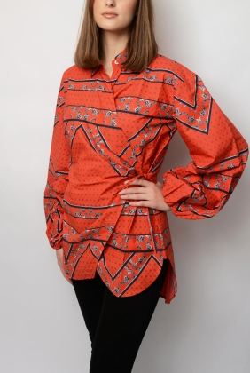 Faulkner Wrap Shirt, Fiery Red