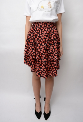 Lindale Crepe Skirt, Fiery Red