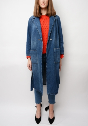 Sheldon Denim Wrap Coat, Medium Dark Denim