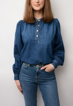 Trinity Soft Denim Blouse, Medium Dark Denim