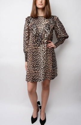 Mullin Georgette Mini Dress, Leopard