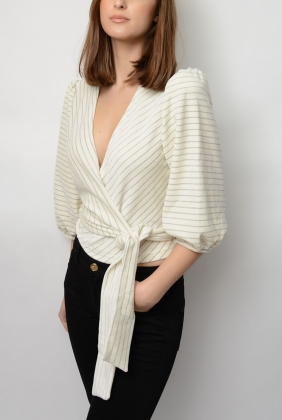 Hawley Wrap Top, Egret