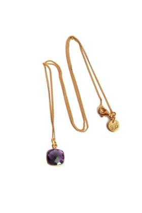 Cushion Necklace Gold Amethyst