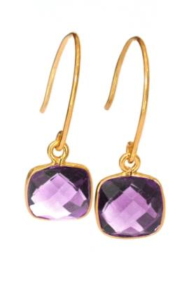 Cushion Earring Gold Amethyst