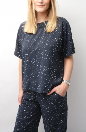 Sally Top Navy Dot Print