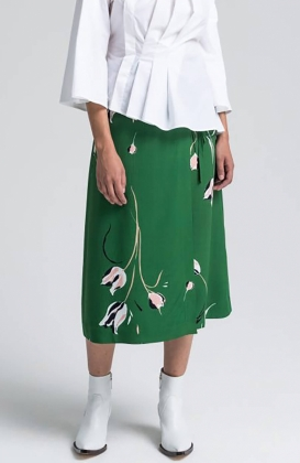 CHIKA SKIRT, GREEN PRINT