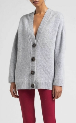Beata Cardigan, Light Grey Melange
