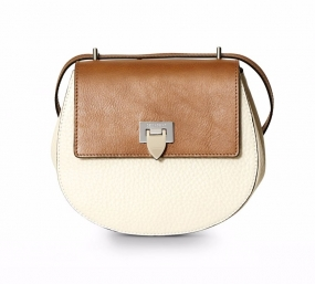 Tiny Round Satchel Bag Bone & Cognac