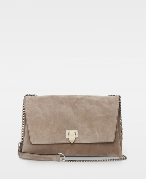 Big Clutch W. Buckle And Chain, Suede Sand