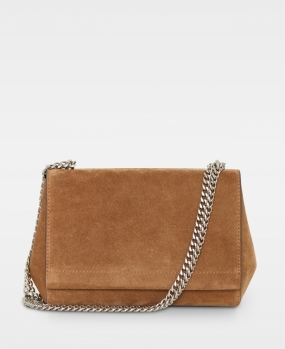 Madelyn Small Clutch, Suede Latte