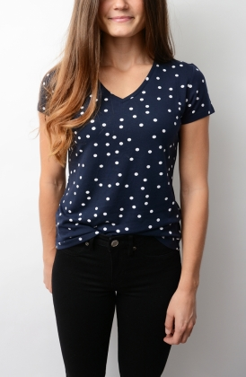 Dotted Fluid V-neck T-shirt, Evening Blue