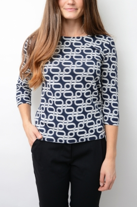 Allover G Printed Top, Evening Blue