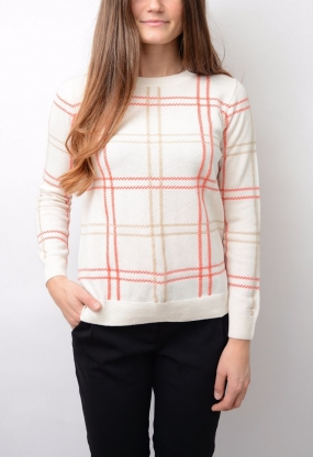 Checked Lambswool Crew, Eggshell