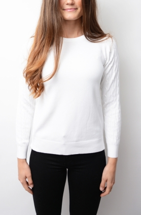 Sporty Stretch Cotton Cable Crew, White