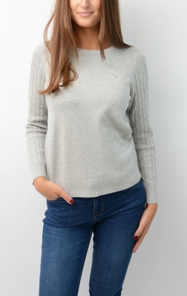 Sporty Stretch Cotton Cable Crew Light Grey Melange