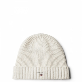 Lined Cotton/Wool Beanie, Eggshell