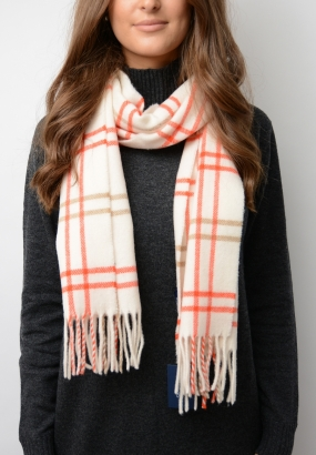 Twill Checked Lambswool Scarf, Creme