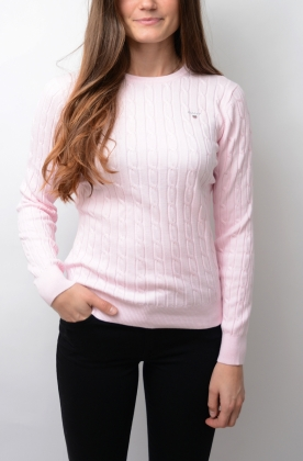Stretch Cotton Cable Crew Light Pink