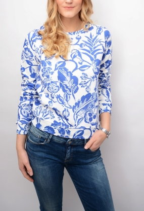 Flower Printed C-neck Sweat Yale Blue