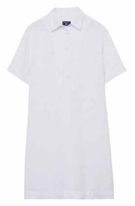 Linen Popover Shirt Dress White