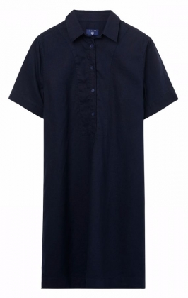 Linen Popover Shirt Dress Marine