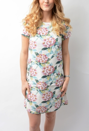 Spring Flower A-line Dress Eggshell