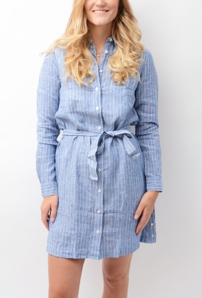 Striped Linen Shirt Dress Persian Blue