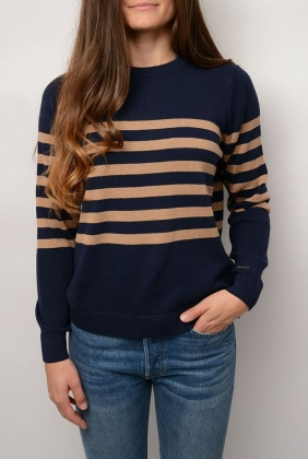 Striped Cotton Crew, Marine