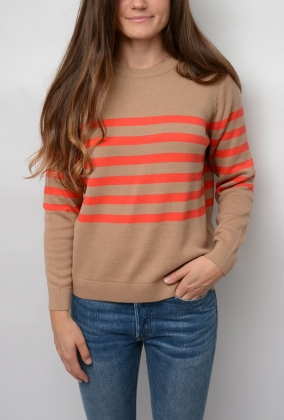 Striped Cotton Crew, Warm Khaki