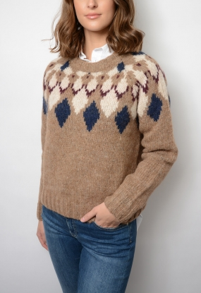 Cosy Fairisle Sweater, Beach Sand Melange
