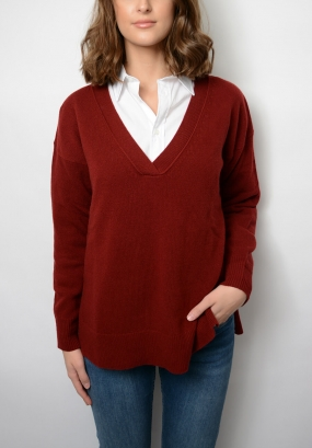 Lambswool Cashmere V-neck, Winter Wine