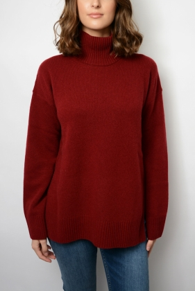 Lambswool Cashmere Turtle Neck, Winter Wine