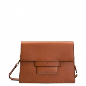 Leather Shoulder Bag, Argan Oil