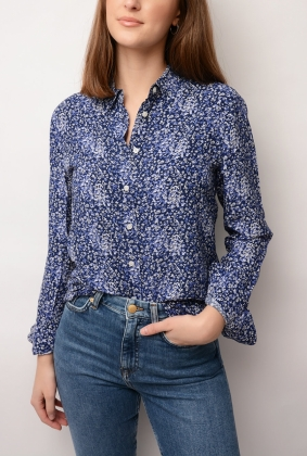 Snowdrop Spread Shirt Blouse, Persian Blue