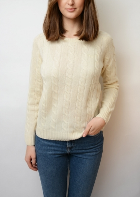 Lambswool Cable Crew Sweater, Cream
