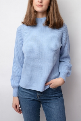 Ribbed Mockneck Sweater, Hamptons Blue