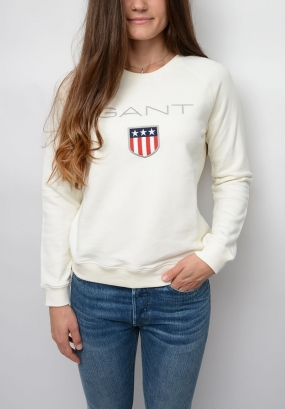 Gant Shield Logo C-neck Sweat, Eggshell
