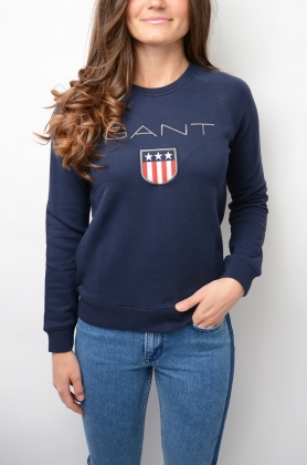 Gant Shield Logo C-neck Sweat, Evening Blue