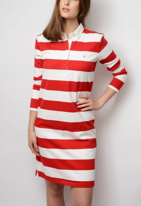 Striped Heavy Rugger Dress, Red