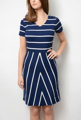 Striped Flared Dress, Persian Blue