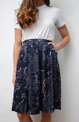 Floral Shadow Skirt, Classic Blue