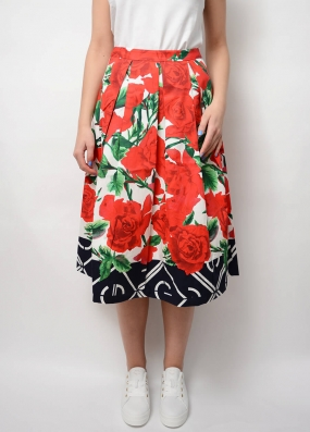 Pleated Rose Skirt, All Over Print