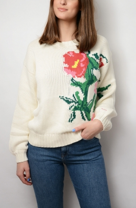 Garden Party Intarsia Crew, Cream